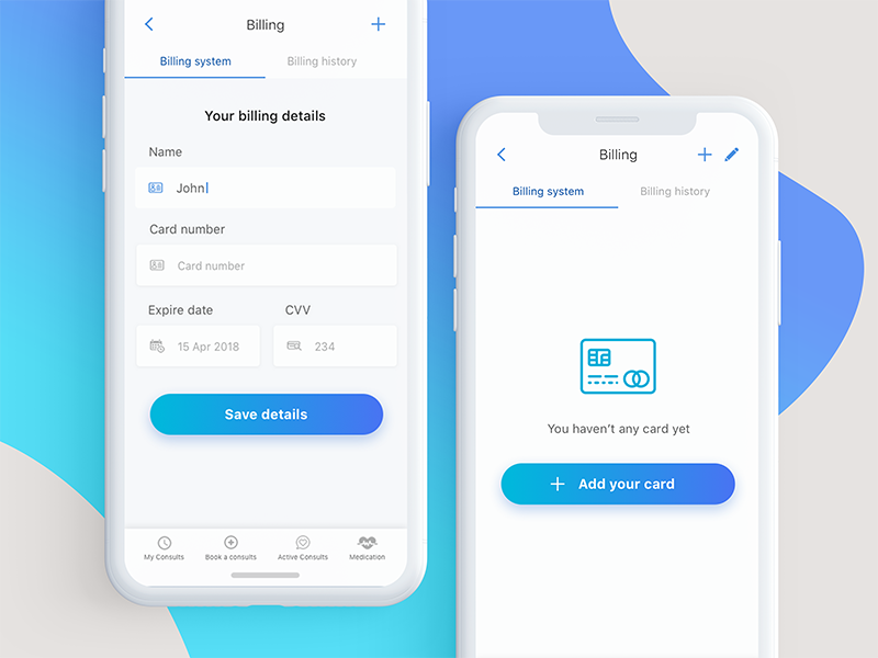 Healthcare Appointment Scheduling App Billing Screen