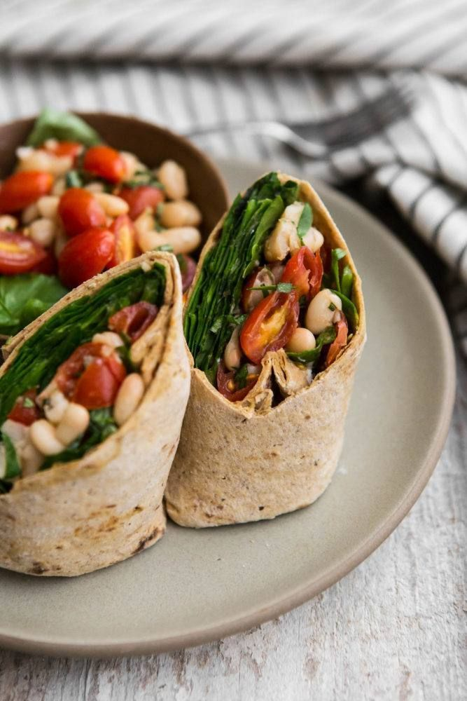 Bruschetta White Bean Wrap with Spinach | @naturallyella