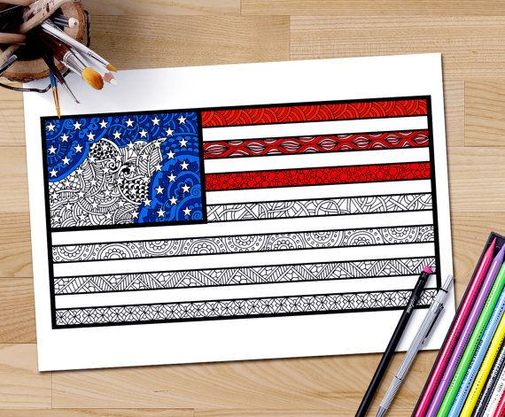 Zentangle Usa Flag Adult Coloring Page By Differentstrokesarts On