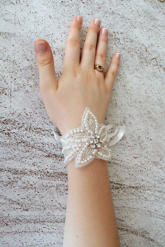 Floral Pearl Bracelet. Bridal wrist corsage. Bridal by semajewelry