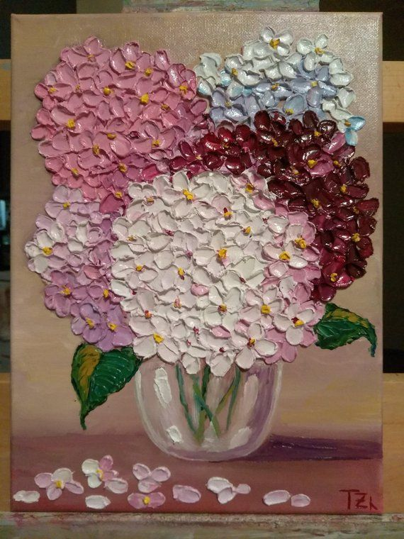 Colorful Hydrangeas in a Glass Bowl White Pink Red Blue Original oil impasto painting size 9 in X 12 in No.04-38 ready to hang #palettenideen