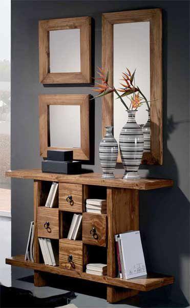 Muebles rustico moderno fabulous muebles de comedor for Espejos modernos en madera