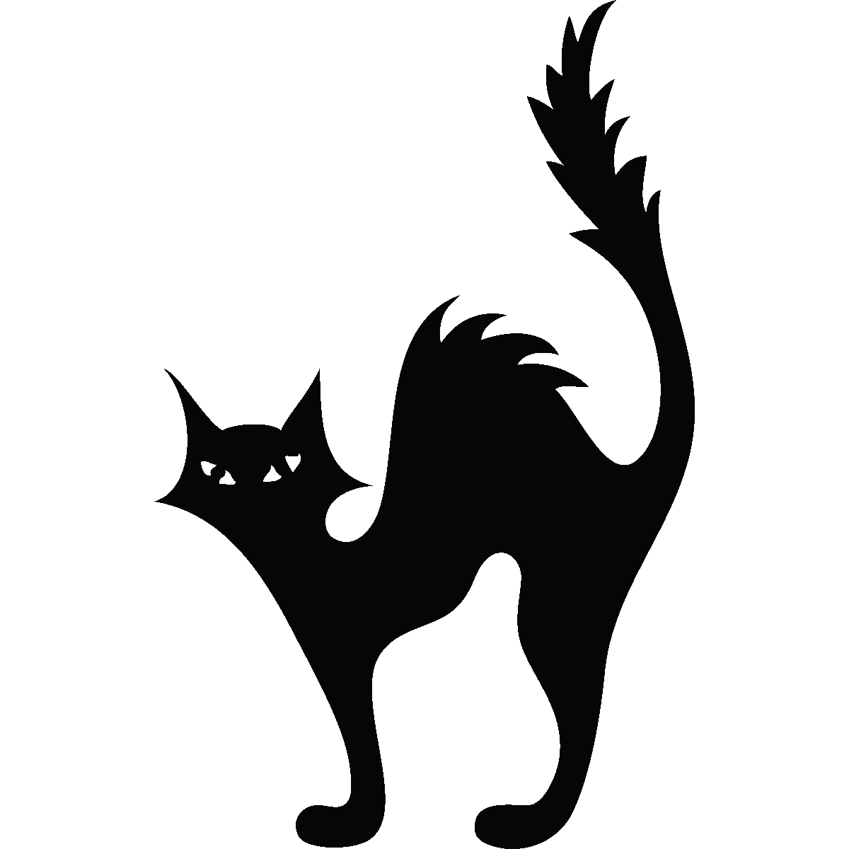 Sticker wc silhouette chat halloween cam o et sorci res - Tatouage silhouette chat ...