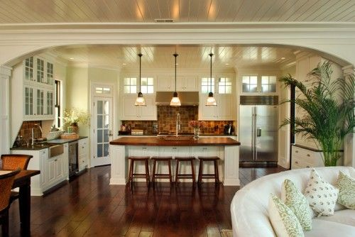 white kitchen with beadboard/plank ceiling...spacious and ...