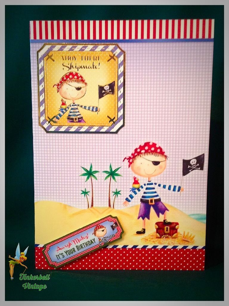 Child Birthday Greeting Card Handmade Greeting Card Pirates Ahoy