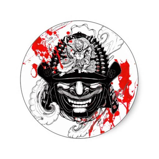Cool blood splatter samurai demon mask helm tattoo classic round sticker