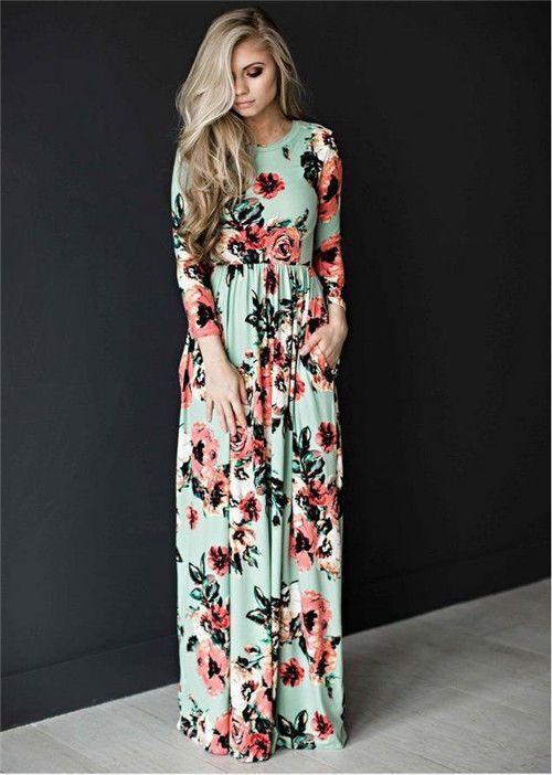 7d7108f399a9 Women Floral Print Long Sleeve Boho Dress Ladies Evening Party Long Dress