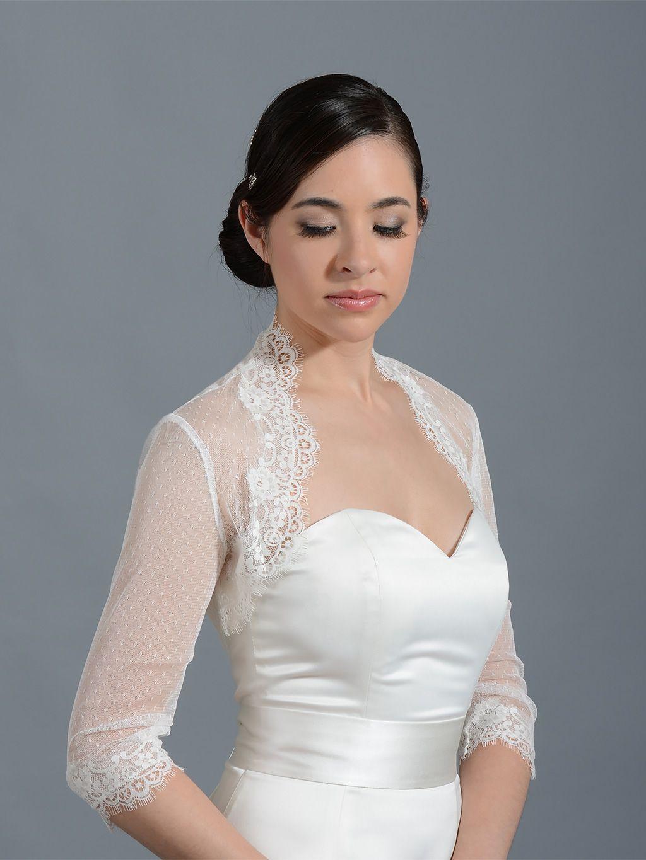 Pink dress and jacket for wedding  Ivory  sleeve bridal dot lace wedding bolero jacket  Wedding