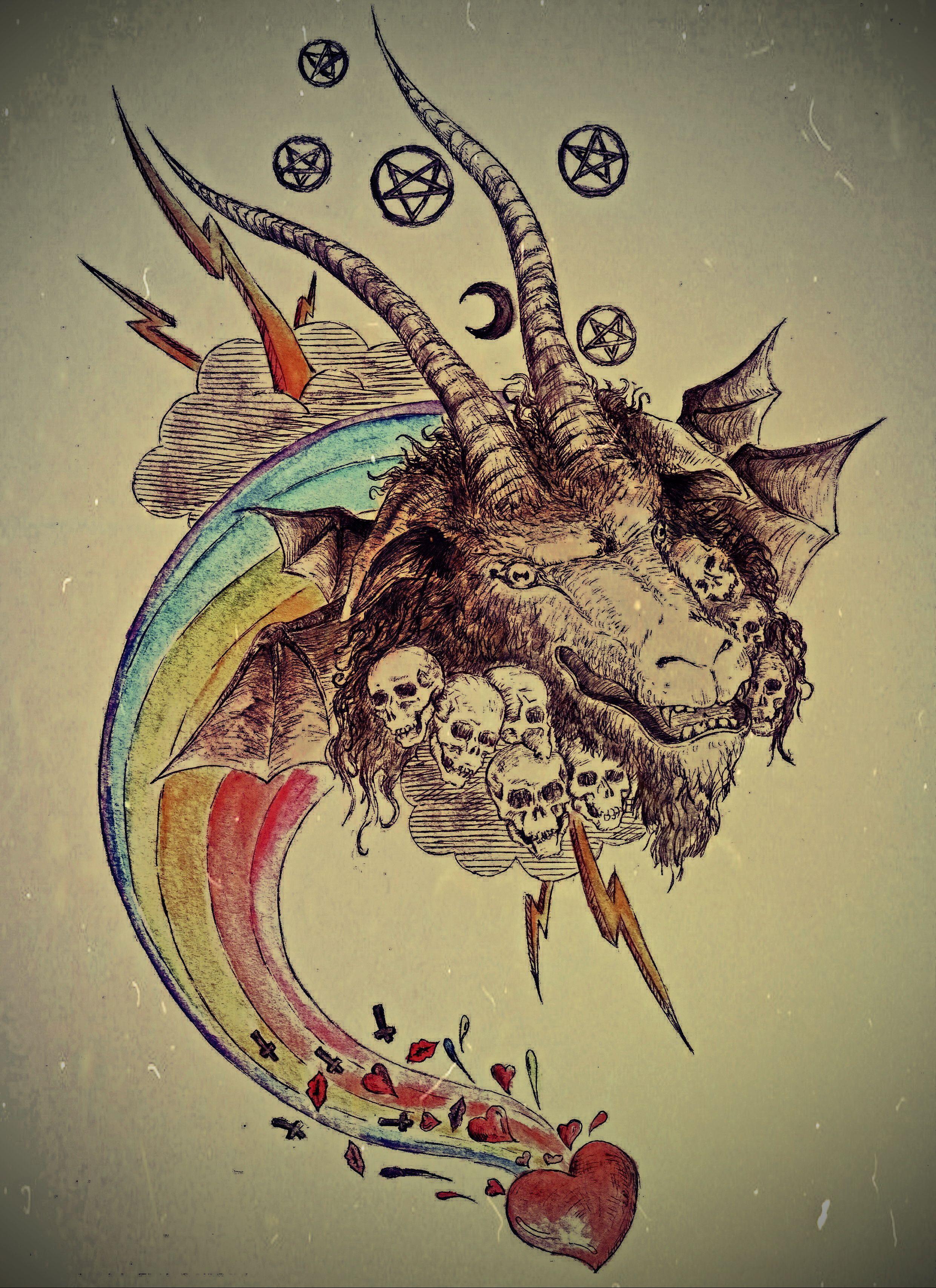 Baphomet on the rainbow ... sketch of tattoo | my artwork | Pinterest