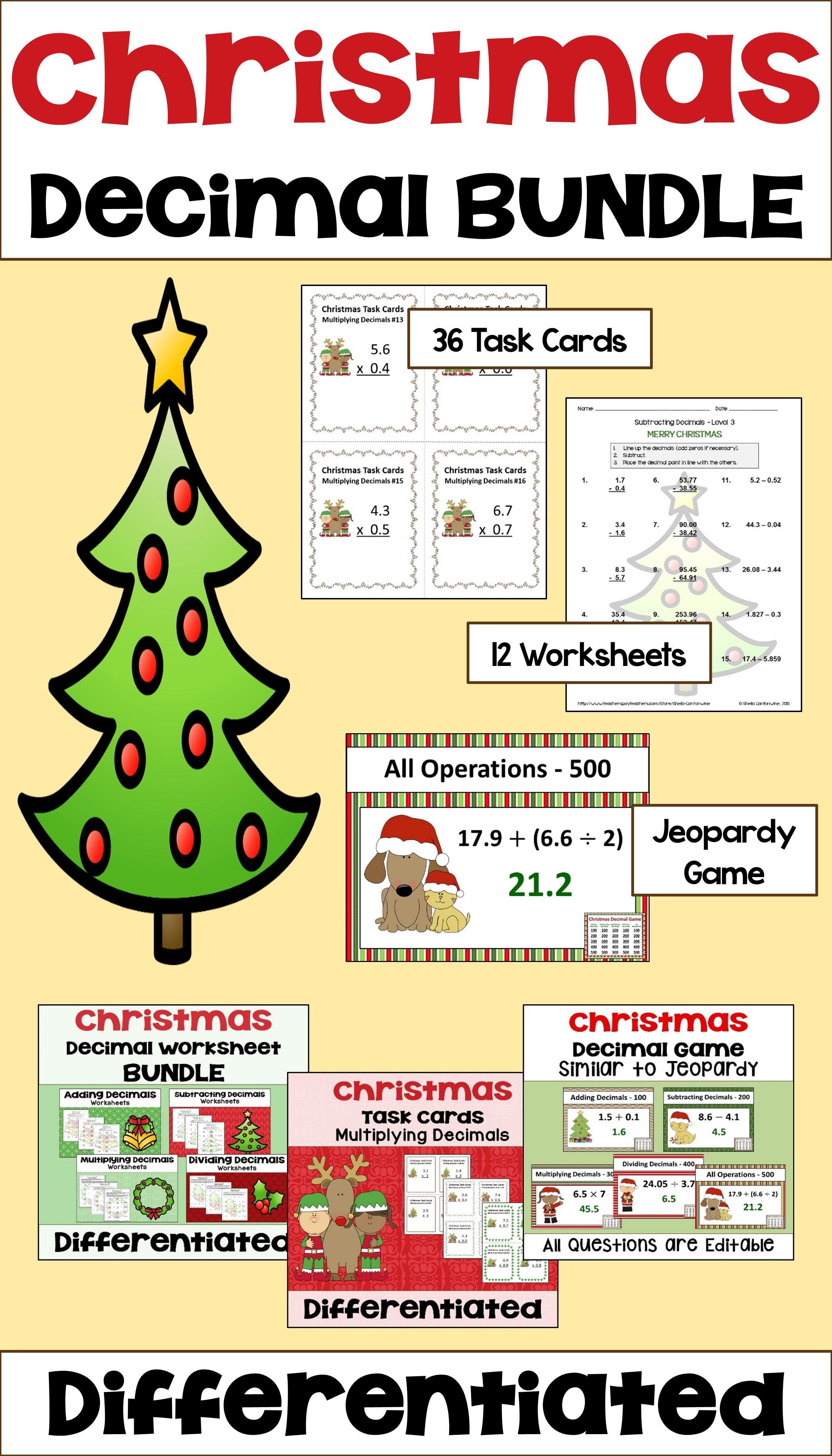 Christmas Decimal Bundle With Worksheets Task Cards And