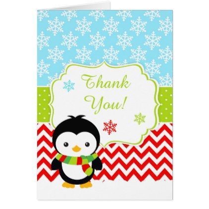 Cute Winter Penguin Red Thank You Card Merry xmas