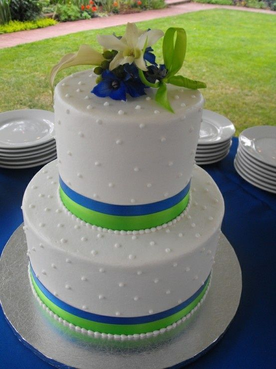 Royal Blue And Green Wedding Cakes