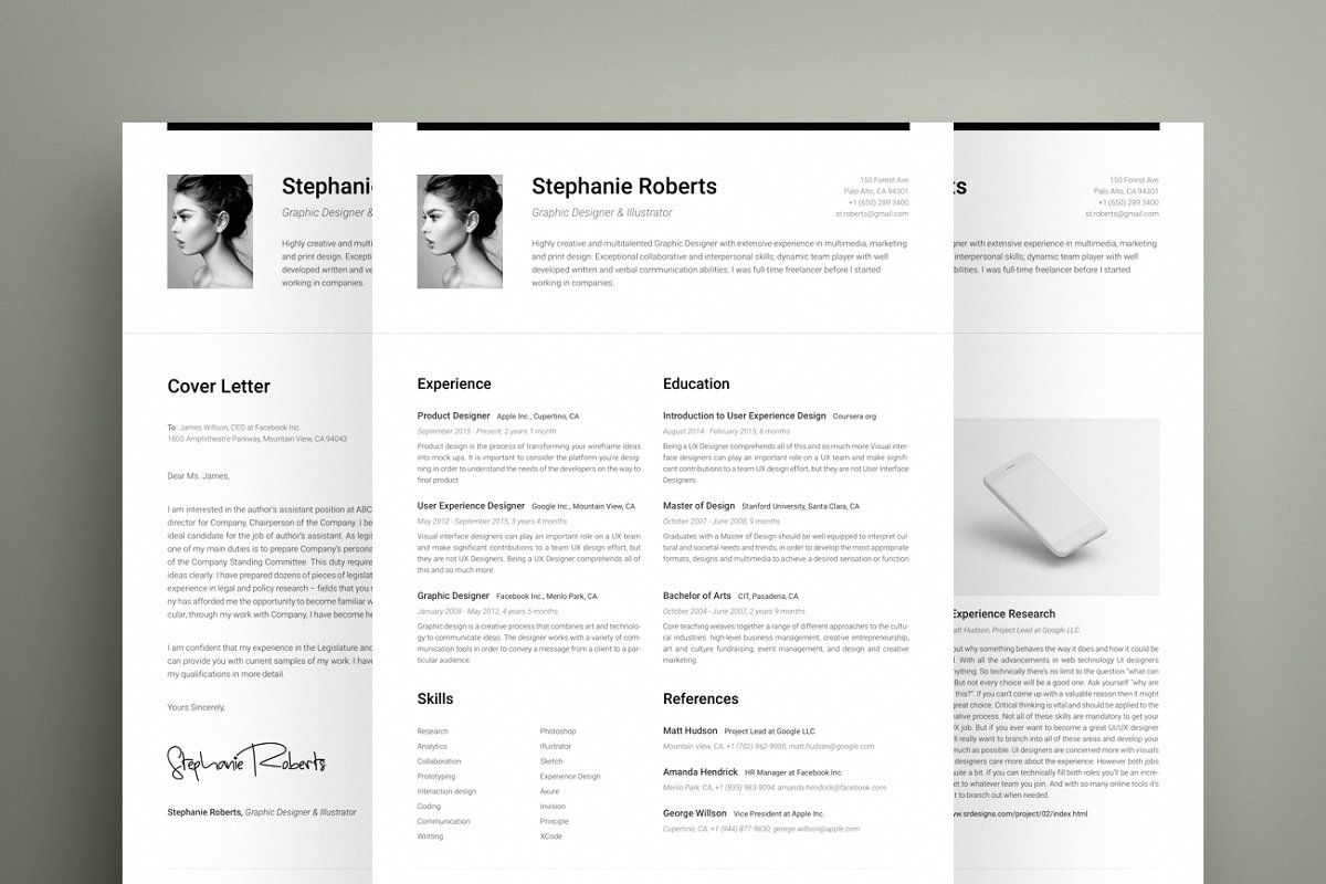 Professional Resume 1 H.W Cover letter template