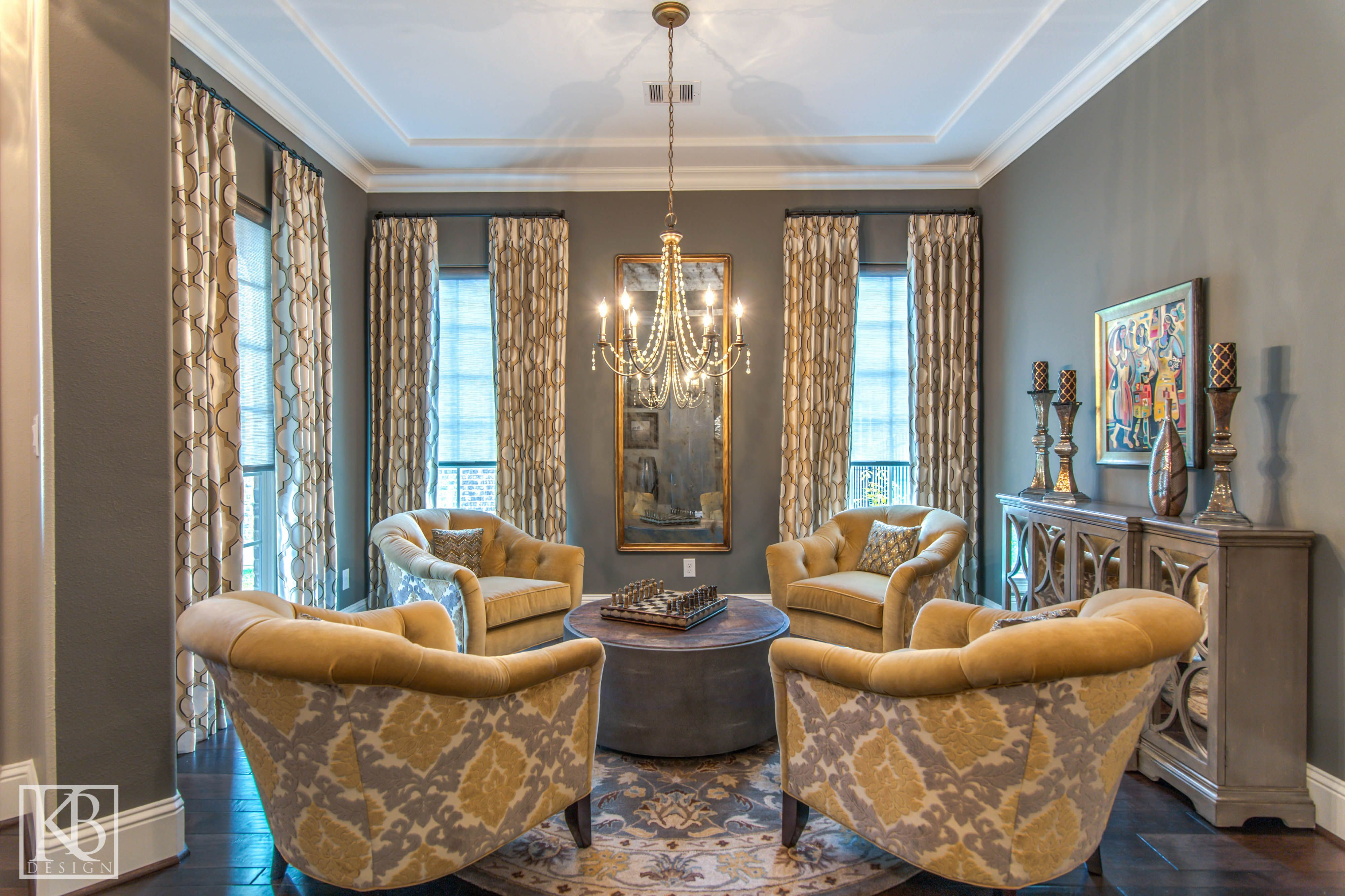 Gathering Spaces 101 Here We Custom Upholstered Four Club Chairs And Centered A Large Round Coffee Table Between The Chand Guest Room Colors Home Room Colors [ 2667 x 4000 Pixel ]