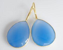 bezel set blue chalcedony earrings