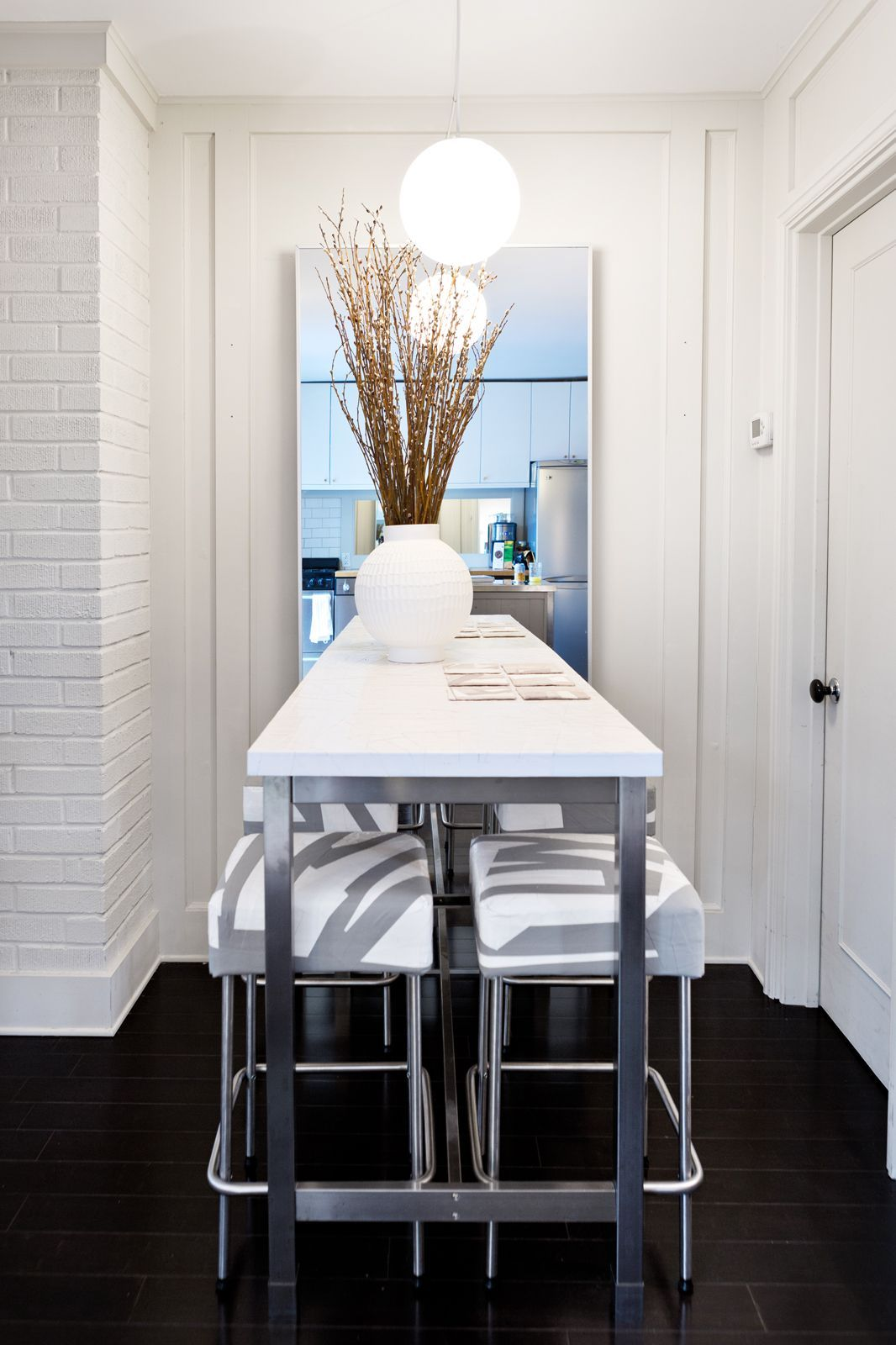 9c09f4d7fe85 50 ways to make the MOST of your tiny apartment. #15: Is your dining space  little more than an alcove? Double it (visually) with a smartly placed  mirror; ...