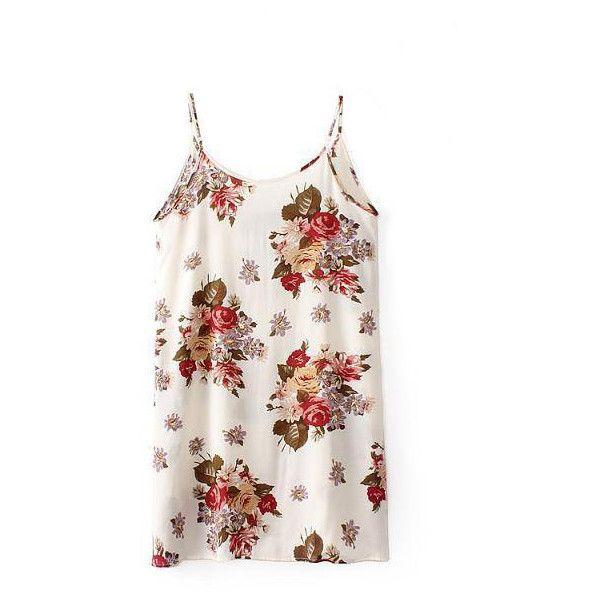 LUCLUC Strappy Floral Pinted Mini Skater Dress ($17) ❤ liked on Polyvore featuring dresses, lucluc, tops, blusa, white mini dress, white dress, strap dress, floral dress et floral print dress