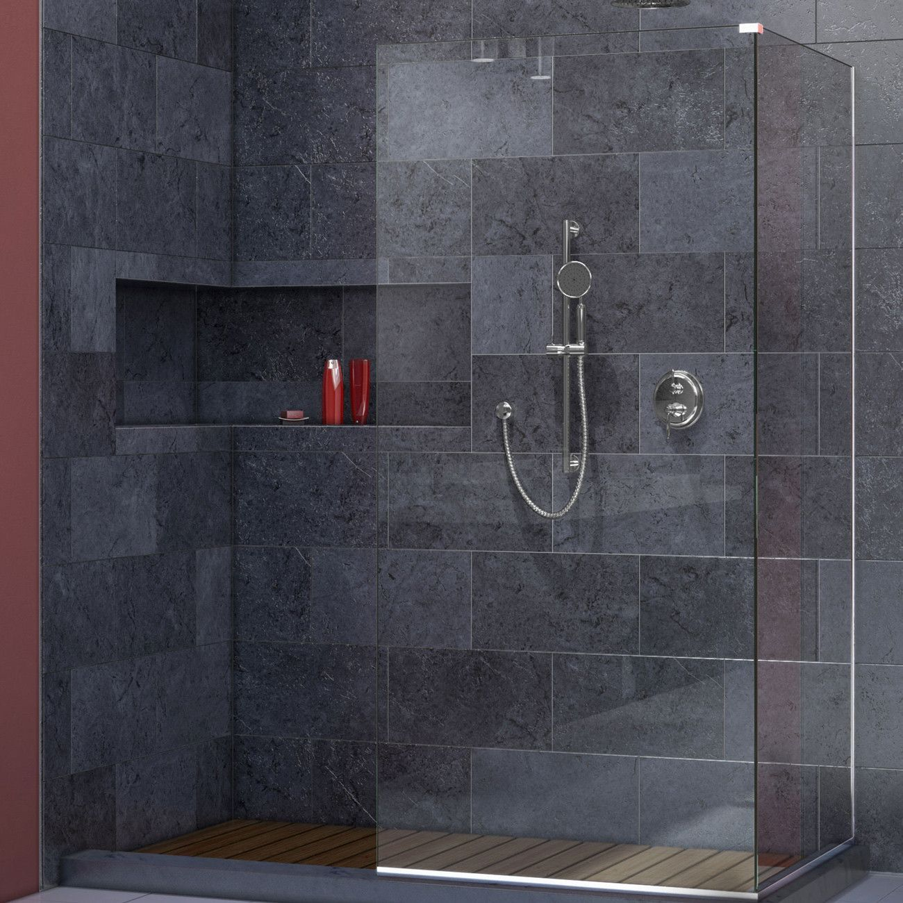 DreamLine SHDR-3230303-01 Linea Frameless Shower Door. Two Attached ...