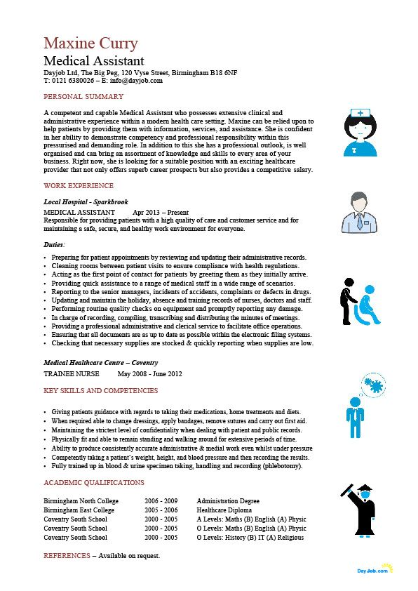Medical Assistant resume template, CV, example, sample, healthcare