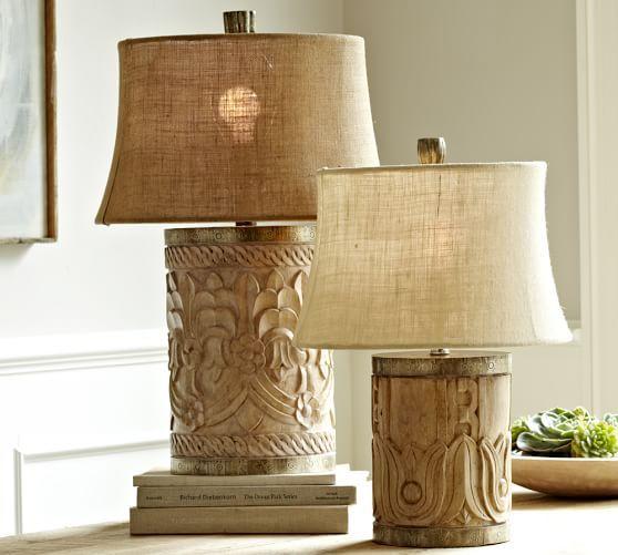 Rowan Carved Wood Table Lamp Bases