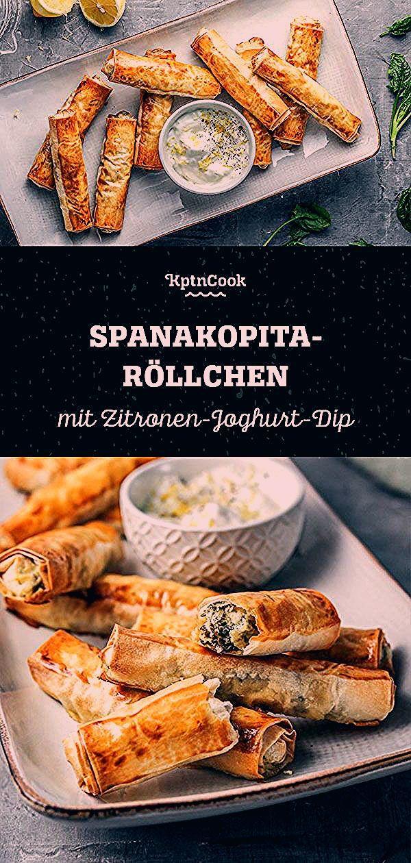 Schnelles Rezept SpanakopitaRöllchen mit ZitronenJoghurtDip Spanakopita ist ein griechisches Gericht Es besteht aus Filoteig Blattspinat  Fetakäse Damit äh...