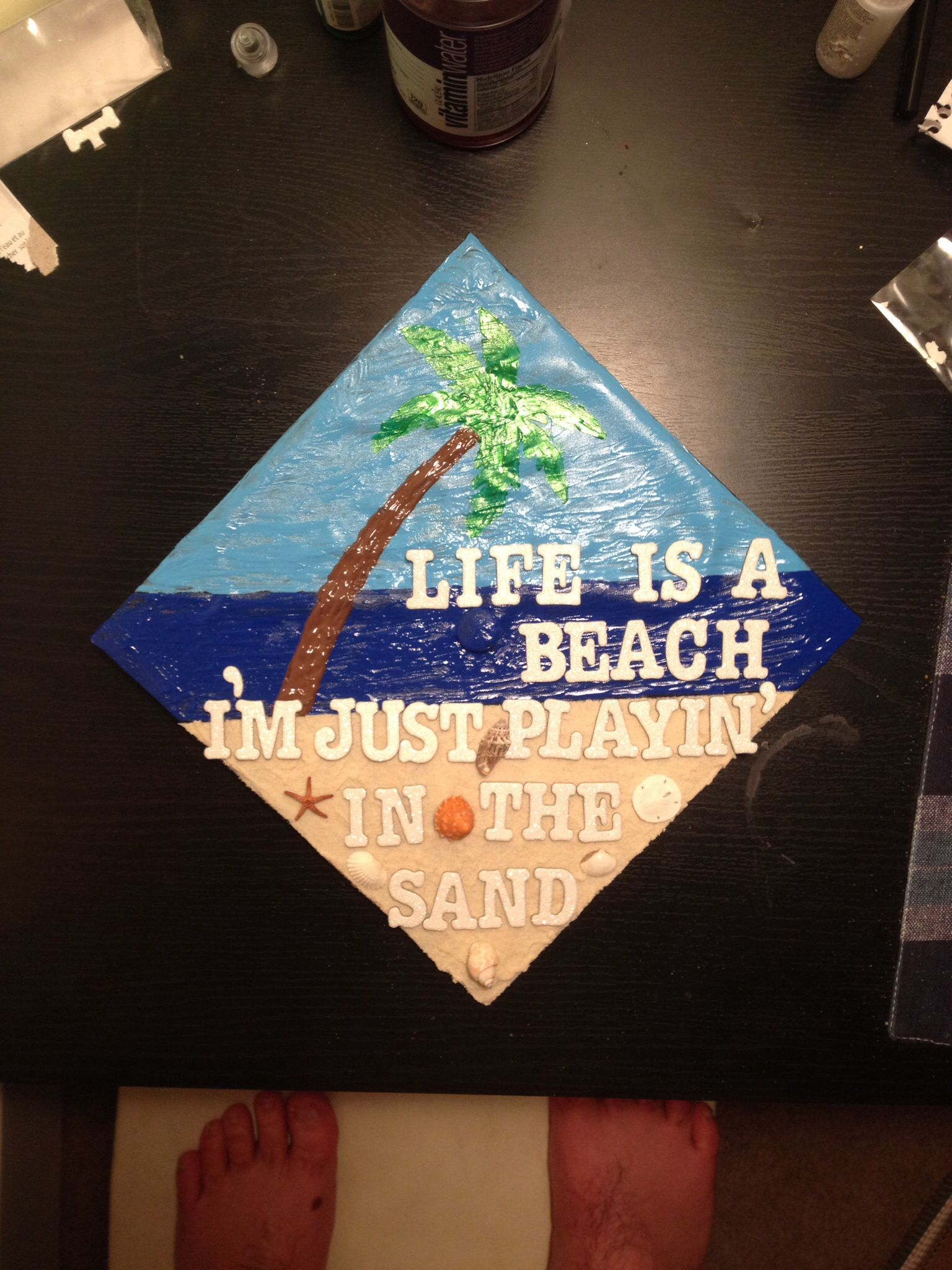 Beach Graduation Cap Being Crafty Graduation Cap