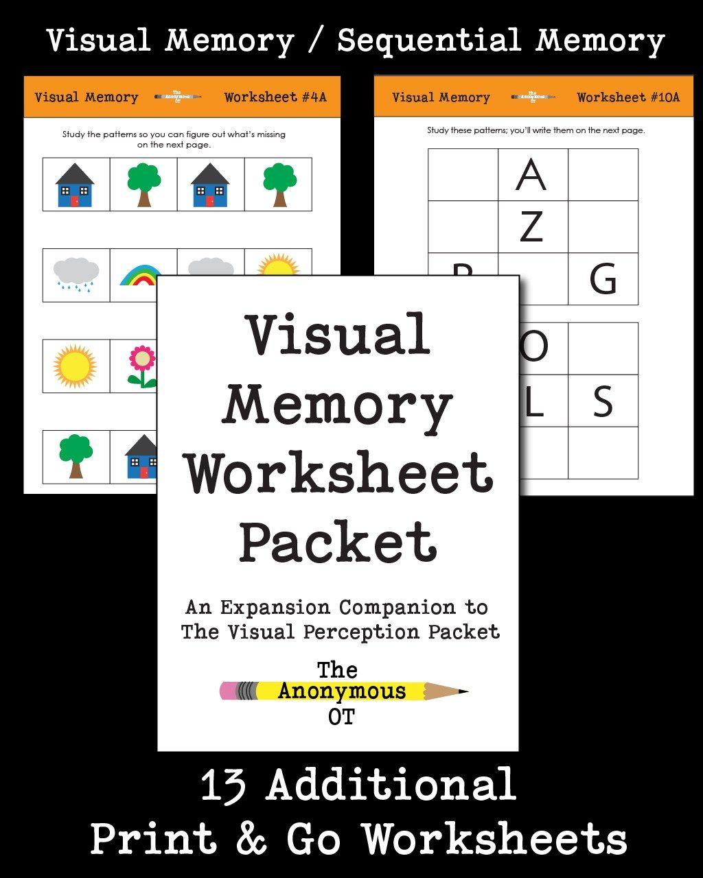 Visual Memory Worksheet Packet Visual Memory Visual Perception
