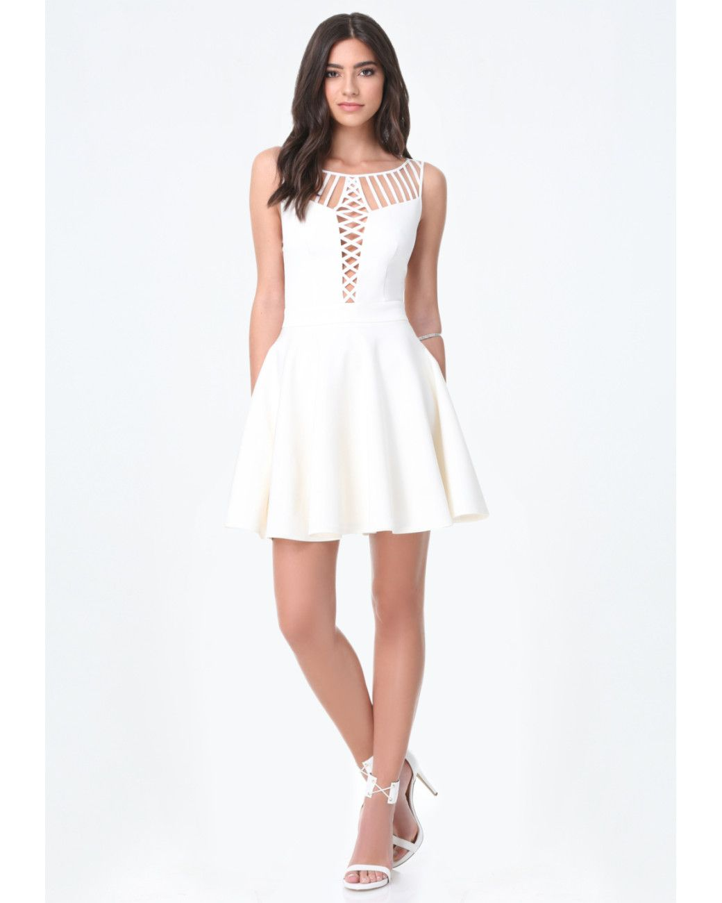 0ef248a89c3 Women s White Strappy Fit   Flare Dress