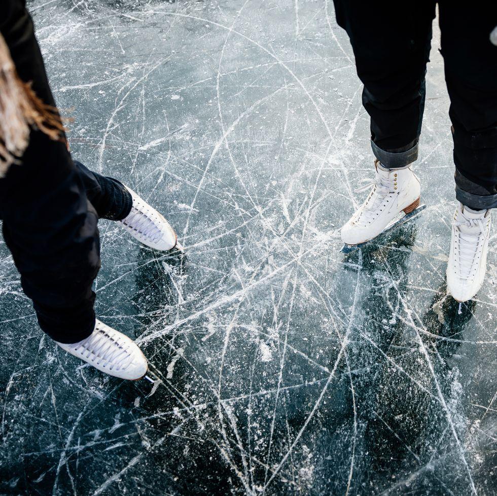 Figure Skater's Ice Skates From Above