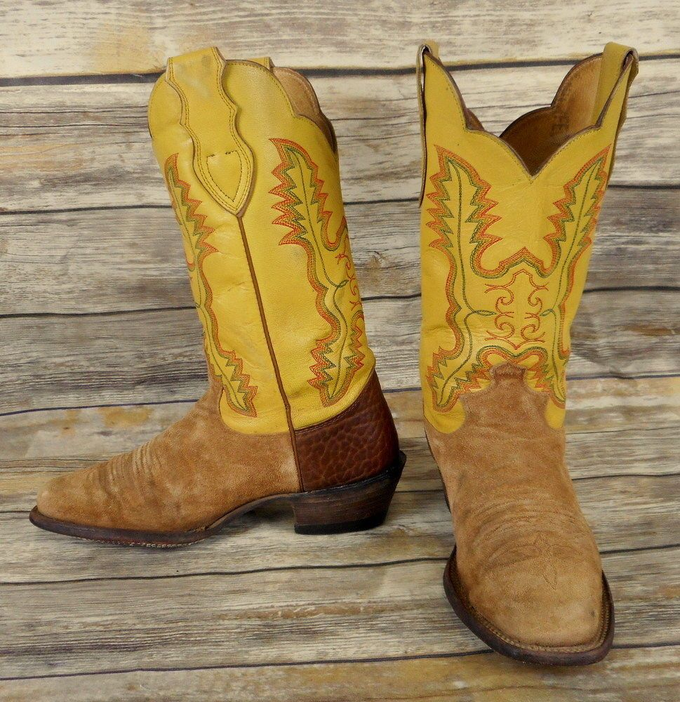 b9e9d1fbc75 Justin Womens Cowboy Boots Yellow Tan Leather Size 9 B Western ...