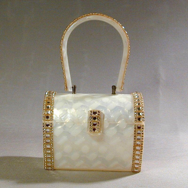 Fabulous Wilardy Lucite Rhinestone Purse Handbag Jeweled