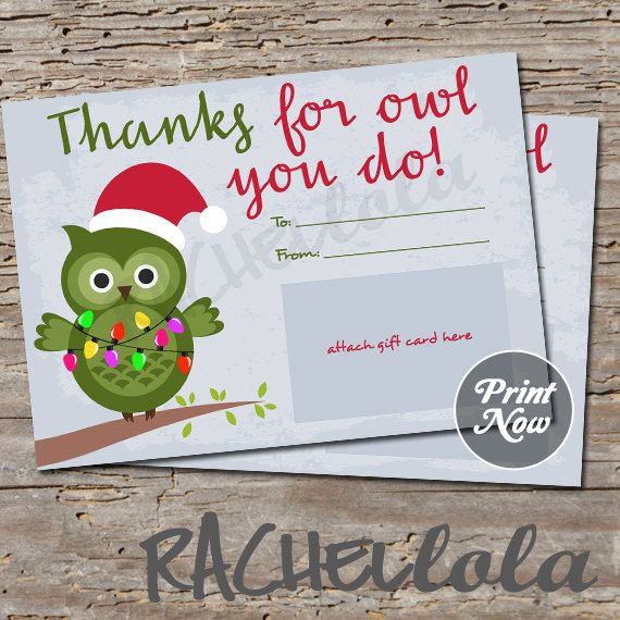 Printable Christmas gift card holder thanks for OWL by Rachellola - printable christmas gift certificate