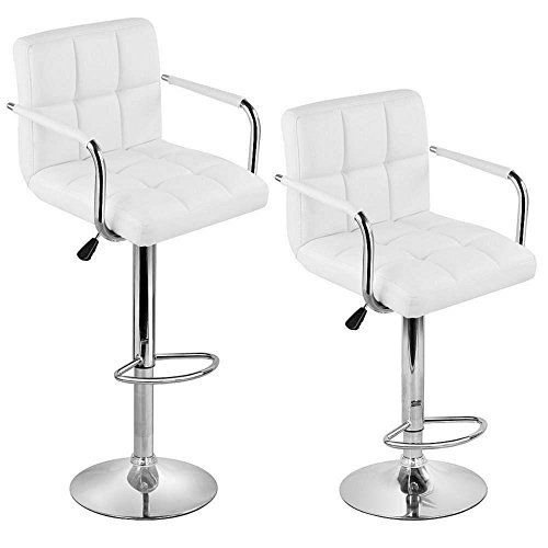 Popamazing 2 X White Faux Leather Kitchen Breakfast Bar Stools Inspiration Leather Swivel Dining Room Chairs Decorating Design