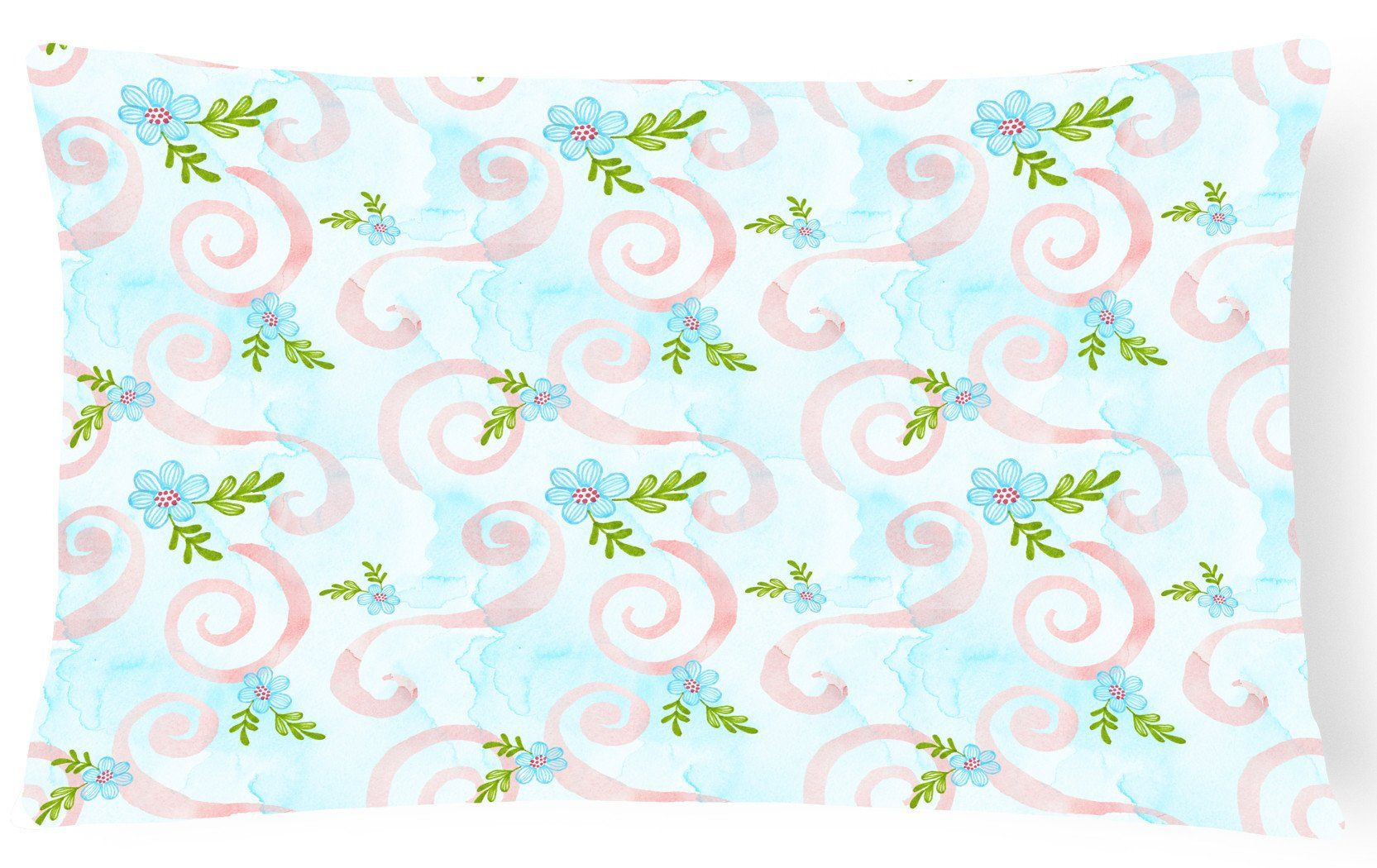 Watercolor blue flowers and swirls canvas fabric decorative pillow