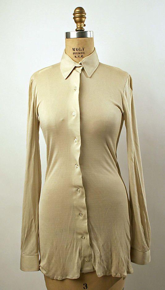 70s vintage Halston silk shirt, Met Costume Institute; @Everlane blouse inspiration source?