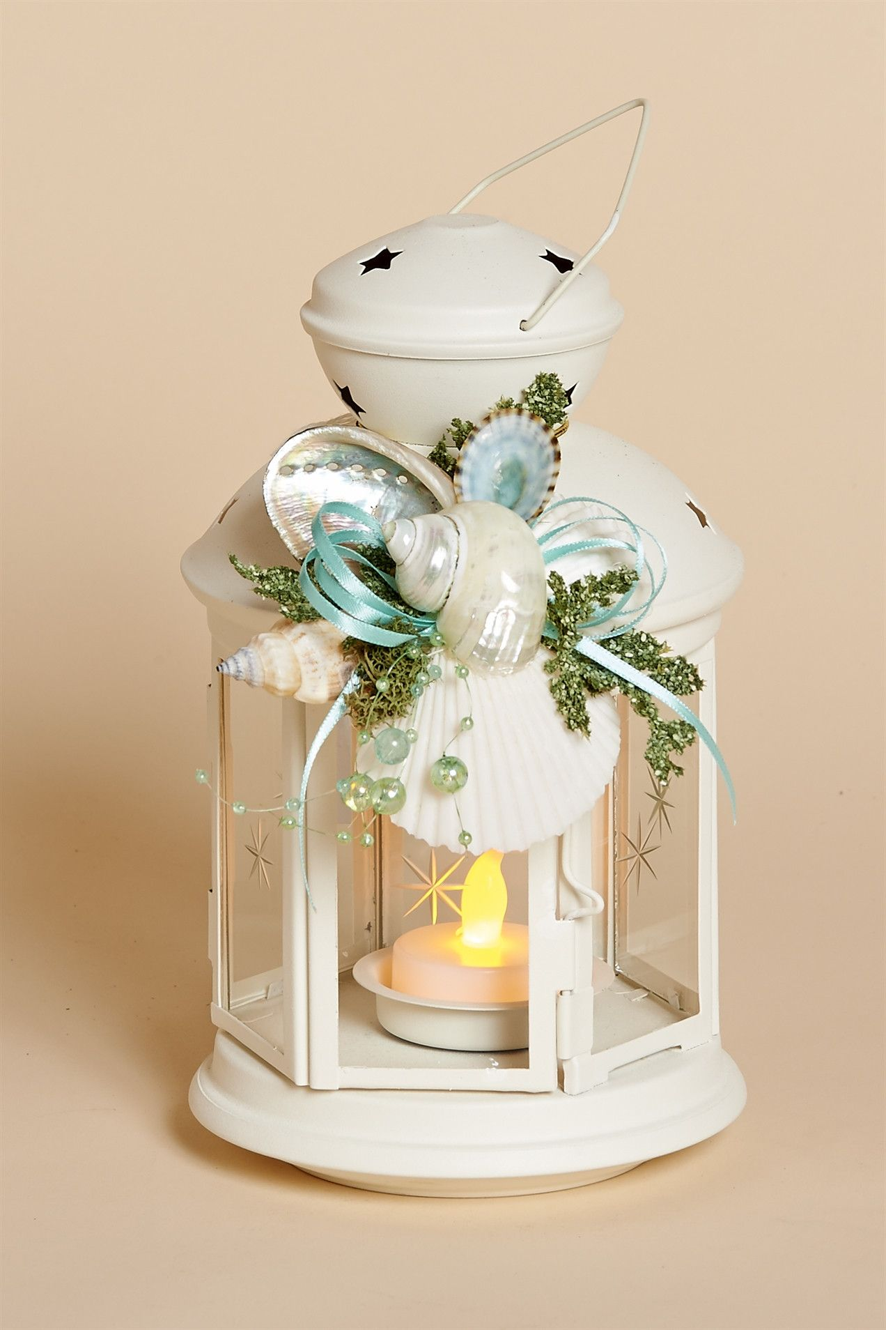 8 inch high White Metal Lantern with Removable Shell Collar, Aqua Bow and Battery Tea Light