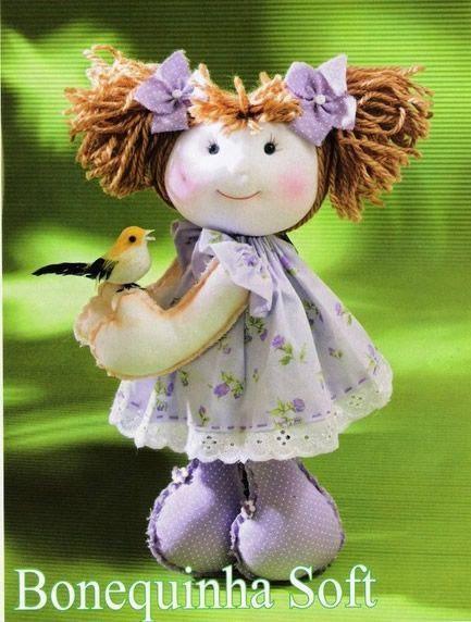 Muñeca soft con coletas | Bonecas de pano | Pinterest