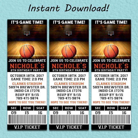 Basket Ball Ticket Invitation Basketball Birthday Invitation