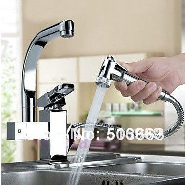 Hot Sell ! 360 degree Swivel Kitchen Faucet Pull Out Polished Chrome Basin Mixer Brass Tap NB-1286 $83.00