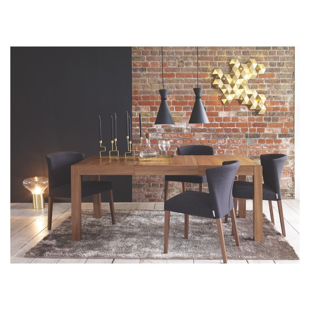 DRIO 4 10 Seat Walnut Extending Dining Table