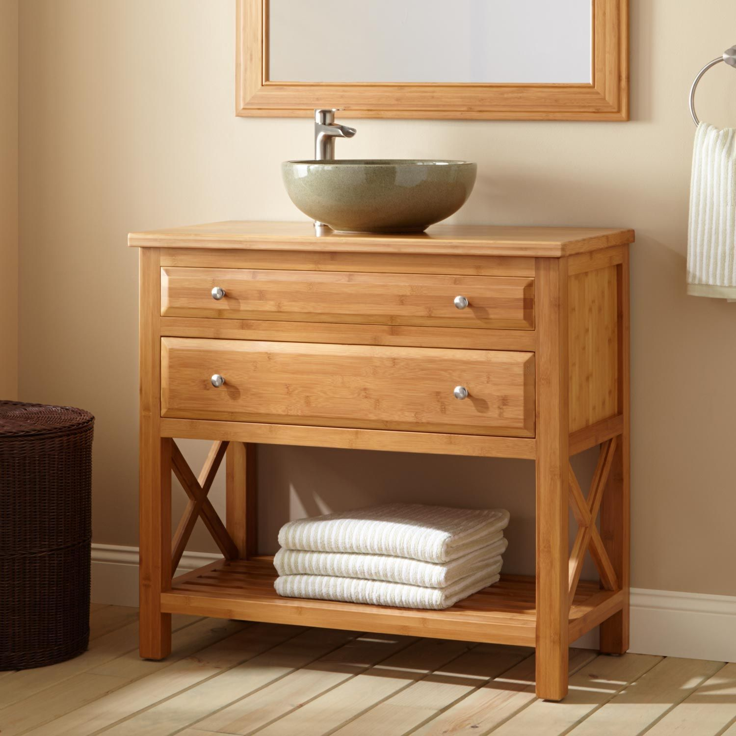 36 Narrow Depth Castine Bamboo Vessel Sink Console Vanity Salle