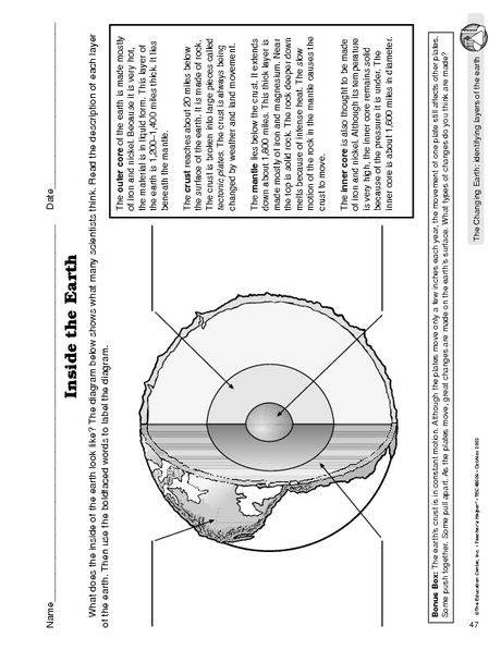 inside planet earth worksheet - photo #29