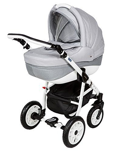 Baby Pram Pushchair Stroller Buggy Travel System Adamex Pajero 88l White Frame 3 In 1 Stroller Baby Prams Pushchair