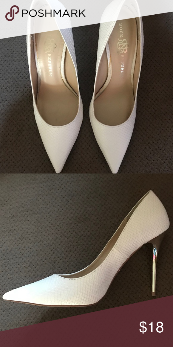 e04efb5c6d Rock & Republic white heels with silver heel. Great shoes in great condition!  Very classy white shoe with a silver accented heel.