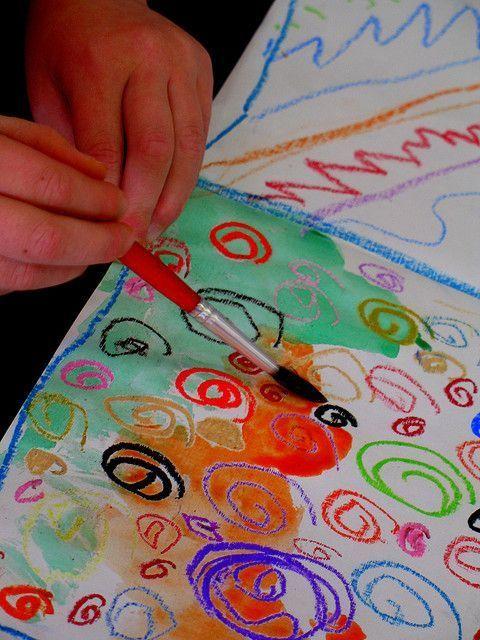 oil pastel, watercolor resist...kindergarten Watercolor and Oil Pastel Resist. This really works and is so cool for kids!  - oil-pastels -