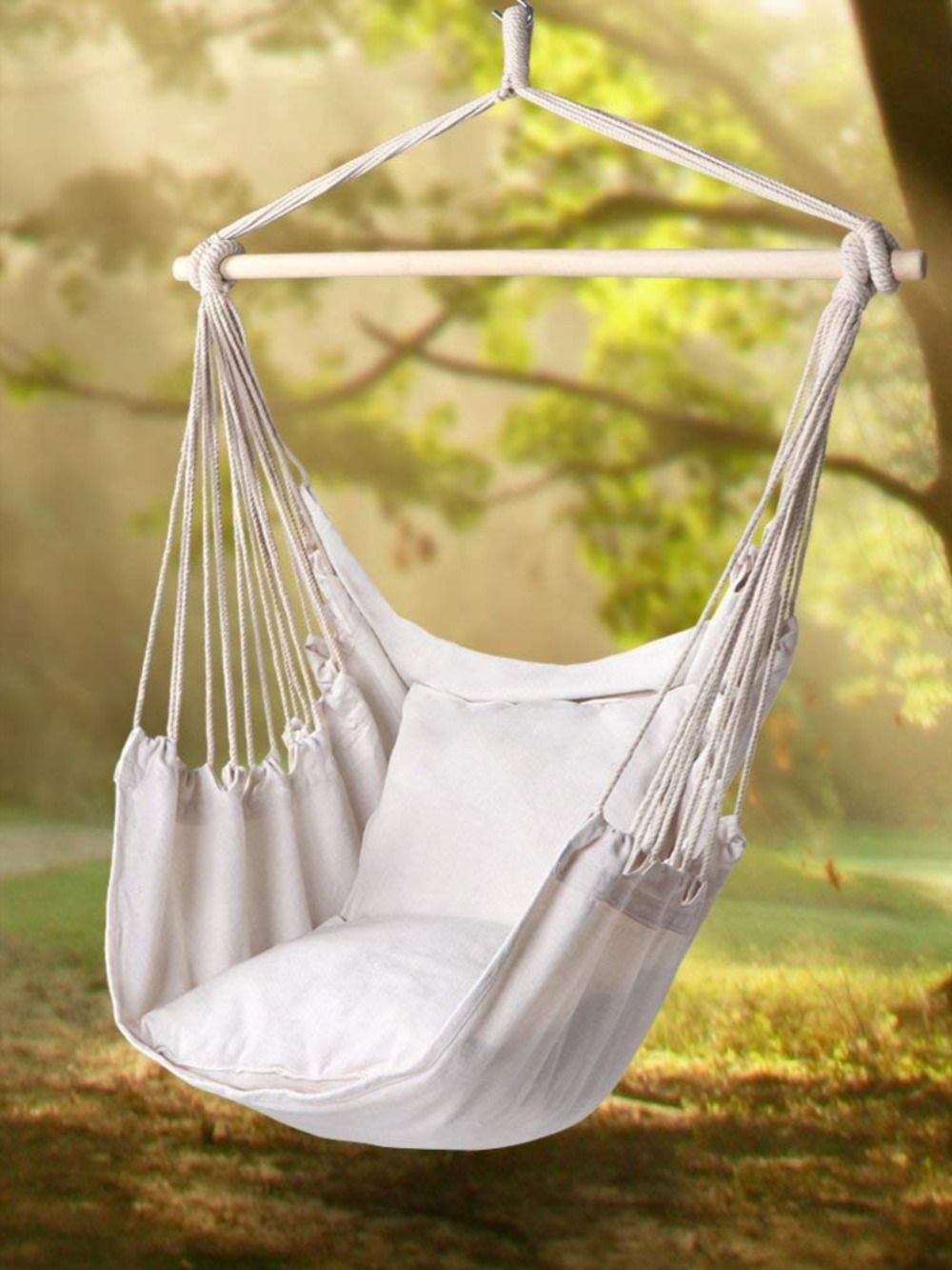 Handmade Hammock Chair With Macrame Edge Cotton Beige Outdoor Hammock Chair Hammock Swing Chair Hammock Swing