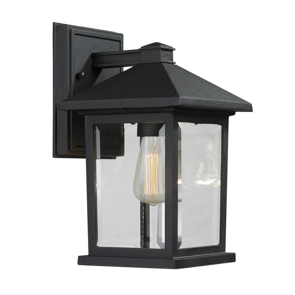Malone light black modern outdoor sconce with clear beveled glass