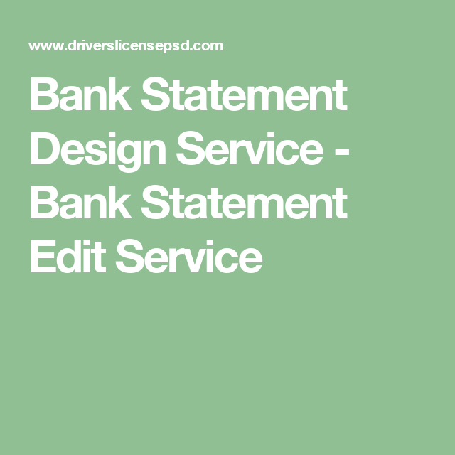 Bank Statement Design Service - Bank Statement Edit Service | Bank