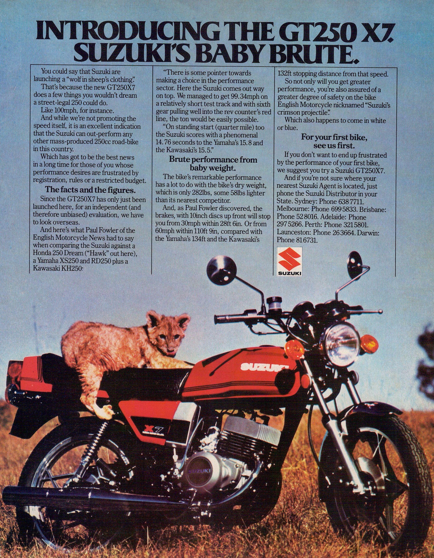 Suzuki Gt250 X7 1978 Australian Full Page Advertisement By Vintagemotorcyclesoz On Etsy In 2020 Suzuki Japanese Motorcycle Motorcycle Posters