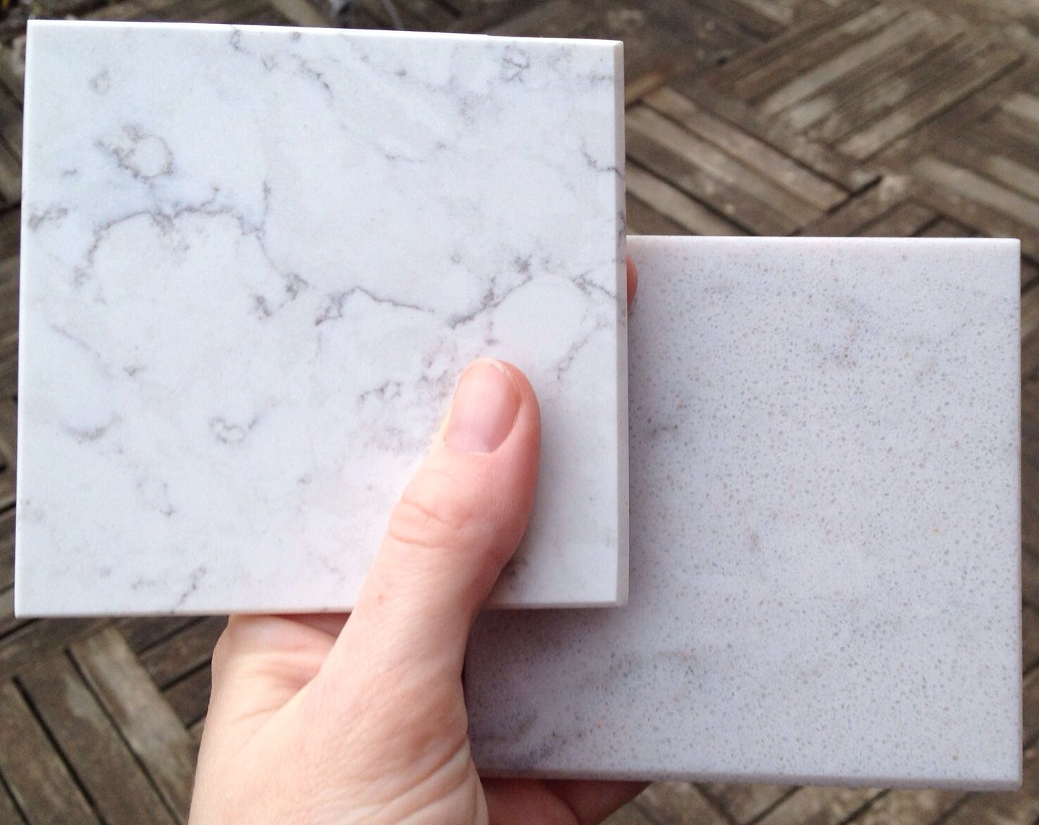 Silestone Blanco Orion To The Left, Silestone Helix To The Right. MY  Favorite Solid Surface Counter Tops.